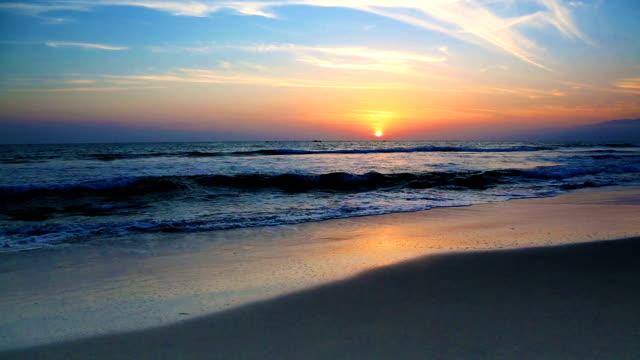 Pacific sunset on Santa Monica beach California USA