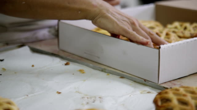 Packing fresh buns into boxes