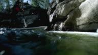 WS LA Paddle boarder surfing river / Aspen, Colorado, USA