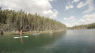 Paddle boarders explore wilderness lake