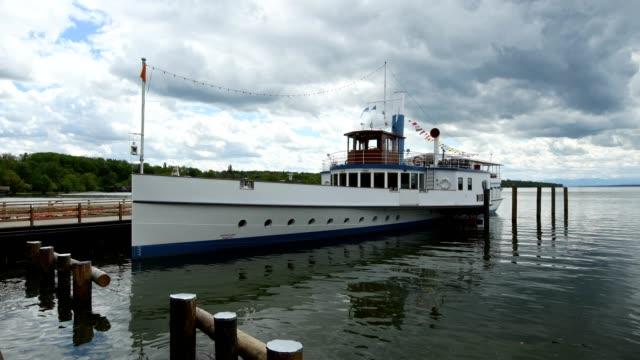 Paddle steamer in harbor, Inning Stegen, Fuenfseenland, Upper Bavaria, Bavaria, Germany