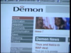 Police arrests after internet crackdown LIB Demon Internet website CMS Hands typing CS Singles chatroom being clicked on and messages scrolled thru...