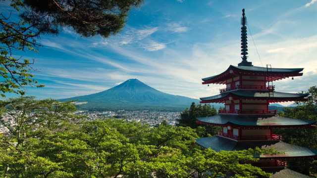 T/L WS Pagoda and Mount Fuji as seen during summer afternoon / Fujiyoshida, Yamanashi, Japan