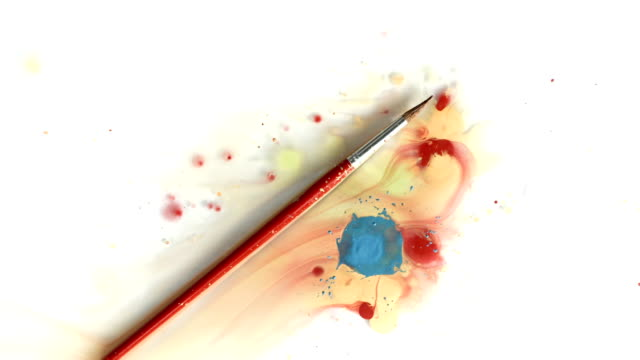 HD: Paintbrush In A Paint Splatter
