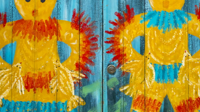 Painted doors in Santa Maria Street, Funchal, Madeira Island, Portugal, Europe