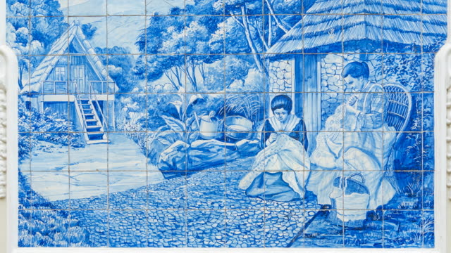 Painted tiles in Funchal, Madeira Island, Portugal, Europe