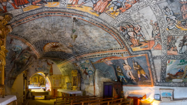 Paintings in shrine of San Bernabe in Ojo Guareña Natural Monument
