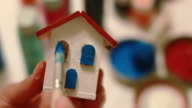 DIY: paintingsmall wooden house windows in blue