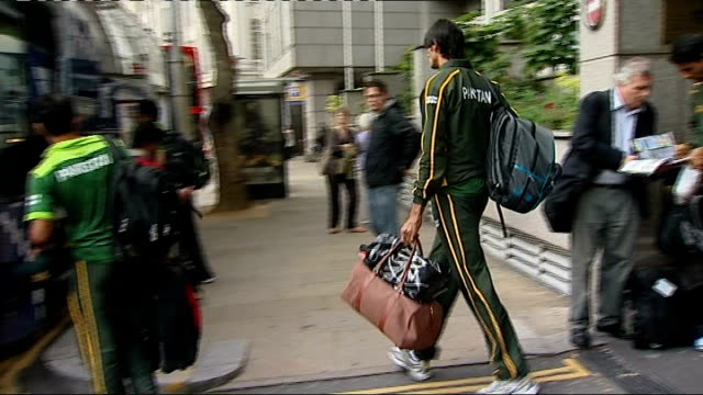 Pakistan cricket team leaving London hotel ENGLAND London Royal Garden Hotel EXT Pakistan cricketers along stowing luggage and boarding team coach /...