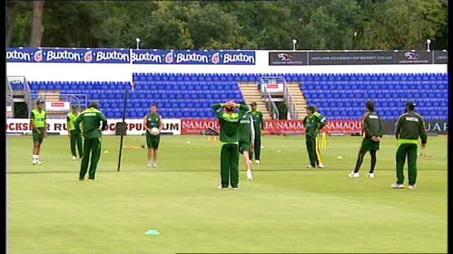 Shahid Afridi press conference / training session Pakistan team taking part in training exercise involving kicking football over net