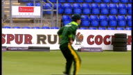 Shahid Afridi press conference / training session Training exercise with football continues / OPakistani players taking part in catching practice /...