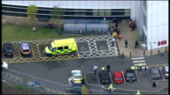 Pakistani girl shot by Taliban arrives in UK for medical treatment Aerials over Birmingham ENGLAND Midlands Birmingham VIEWS / AERIALS of ambulance...