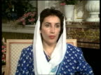 Pakistani Prime Minister Benazir Bhutto visit to UK ENGLAND London Benazir Bhutto Pakistan PM intvwd on request to rejoin the Commonwealth/drug...