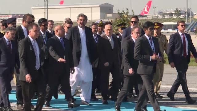 Pakistani Prime Minister Shahid Khaqan Abbasi arrives at Ataturk Airport in Istanbul Turkey on October 19 2017 Prime Minister Abbasi arrived in...