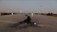 Pakistani protesters block a main highway to protest the execution of Mumtaz Qadri in Islamabad Pakistan on February 29 2016 Pakistan has hanged the...