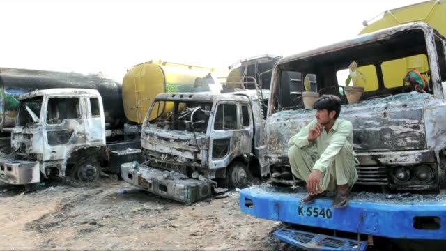 Pakistani Taliban militants claimed responsibility Monday for two attacks on Afghanbound NATO supply convoys in which nearly 60 trucks have been...