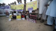 Pakistanis hold a protest rally against violence on Rohingya Muslims in Myanmar on September 05 2017 in Islamabad Pakistan Thousands of Rohingya...