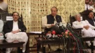 Pakistan's former Prime Minister Nawaz Sharif speaks during a news conference in Islamabad Pakistan on September 26 2017 Sharif appeared before an...