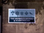 Dinosaur skeleton found in Filey Unveiling ENGLAND Yorkshire Scarborough EXT Sign for 'University of Hull @ Scarborough'