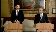 David Miliband and Salam Fayyad press conference David Miliband press conference SOT On need to take lead from elected Palestinian political leaders...