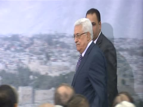 Palestinian Authority President Mahmoud Abbas arrives at press conference in Ramallah