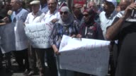 Palestinian demonstrators slogans protesting against the arrival of a US delegation headed by Senior White House Advisor Jared Kushner to meet with...
