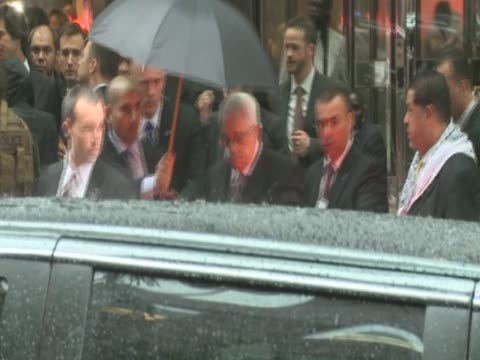 Palestinian leader Mahmoud Abbas leaves his hotel New York City