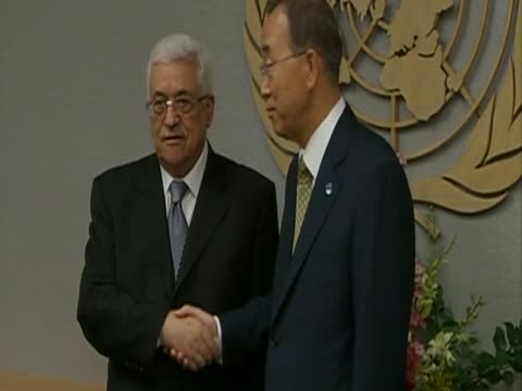 Palestinian leader Mahmoud Abbas presents the document detailing the Palestinans' bid for statehood to the SecretaryGeneral of the United Nations Ban...