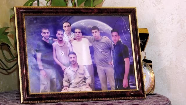Palestinian mother Latife Ebu Hamid whose 4 sons in Israeli jails demand the release of them on Palestinian Prisoners' Day in Ramallah West Bank on...