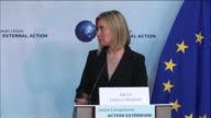 Palestinian President Mahmoud Abbas and Federica Mogherini High Representative of the European Union for Foreign Affairs and Security Policy deliver...