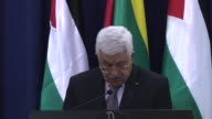Palestinian President Mahmoud Abbas and President of Lithuania Dalia Grybauskaite attend a joint press conference after their meeting in the West...