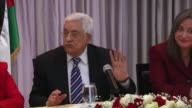 Palestinian President Mahmoud Abbas delivers a speech during a press conference in Bethlehem West Bank on January 6 2016