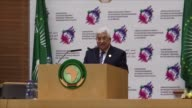 Palestinian President Mahmoud Abbas delivers a speech during the 28th African Union Summit at the AU Headquarters in Addis Ababa Ethiopia on January...