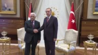 Palestinian President Mahmoud Abbas meets with his Turkish counterpart Recep Tayyip Erdogan at Presidential Complex on August 28 2017 in Ankara Turkey