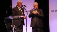 Palestinian President Mahmoud Abbas receives the hope for peace award from German journalist Dietmar Ossenberg during the 12th Steiger Award Ceremony...