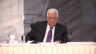 Palestinian President Mahmoud Abbas speaks at an event at his office in Ramallah West Bank on August 05 2017 Abbas vowed on Saturday to continue...