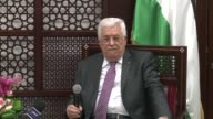 Palestinian President Mahmoud Abbas speaks to the media on the recent clashes at Al Aqsa Mosque during a press conference in Ramallah West Bank on...