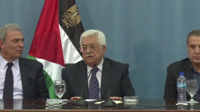 Palestinian president Mahmud Abbas says security coordination with Israel is still going on at a press conference Saturday at the Muqata in Ramallah