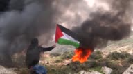 Palestinian protesters clashed with Israeli security forces on Friday near the village of alMughayyir east of Ramallah in the West Bank as they...