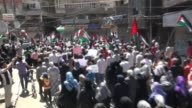 Palestinian refugees in Yarmouk refugee camp mark the 67th anniversary of the 'Nakba' and shout slogans during the march in Damascus Syria on 15 May...