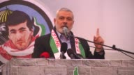 Palestinians attend the 20th anniversary of Izz adDin alQassam Brigades Leader Yahya Ayyash's death in Khan Yunis Gaza on January 7 2016 Hamas Deputy...