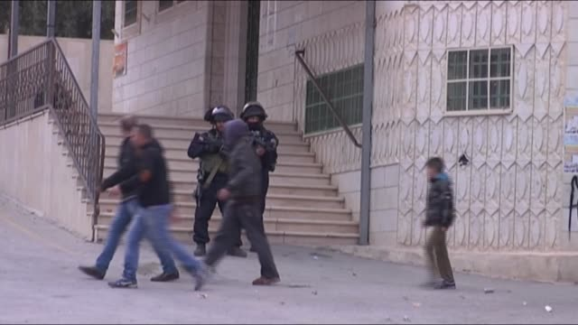 Palestinians gather to protest Israeli violations and Israeli soldiers intervene with tear gas to Palestinian protestors in Hebron West Bank on 6...