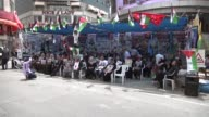 Palestinians stage a demonstration at the Yasser Arafat Square in solidarity with Israeliheld Palestinian prisoners who began a hunger strike last...
