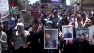 Palestinians take part in a rally in support of Israeliheld Palestinian prisoners who ended their hunger strike earlier in the day on May 27 2017 in...