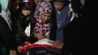 Palestinians take part in the funeral of 19yearold Mohannad Halabi who was shot dead by police in the West Bank village of Surda near Ramallah on...
