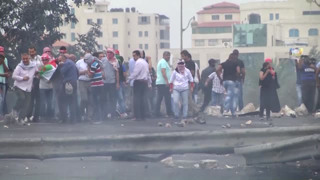 Palestinians were injured during antiIsrael protests in regions of West Bank on 23 October 2015 Palestinians gather to protest Israeli violations on...