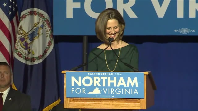 WTVR Pam Northam Wife of Virginia GovernorElect Ralph Northam introduces her husband at the Northam For Governor election night party at George Mason...