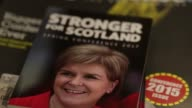 Pamphlets with the title Stronger For Scotland featuring a photograph of Nicola Sturgeon Scotland's first minister and leader of the Scottish...