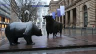 Pan across banners flying outside the Frankfurt Stock Exchange in Frankfurt Germany on Thursday Feb 4 Pan down on Frankfurt Stock Exchange Bear and...