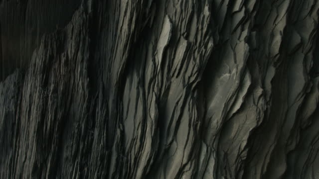Pan across basalt rock formations in southern Iceland.